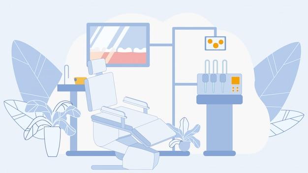 Zahnmedizinisches büro in der klinik-flachen vektor-illustration