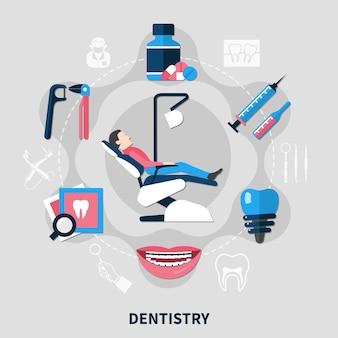 Zahnmedizinisches designkonzept mit patient im medizinischen sessel und werkzeugen für die zahnpflege flach