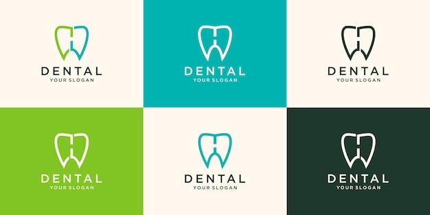 Zahnmedizinisches logo mit linearem stil der designvektorschablone des buchstaben h.