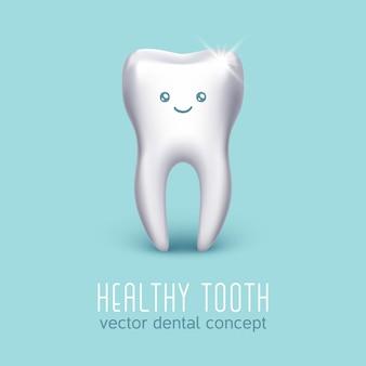 Zahnmedizinisches medizinisches plakat mit dem menschlichen zahn 3d. zahngesundheit konzept. stomatologie-ikonenfahne krank