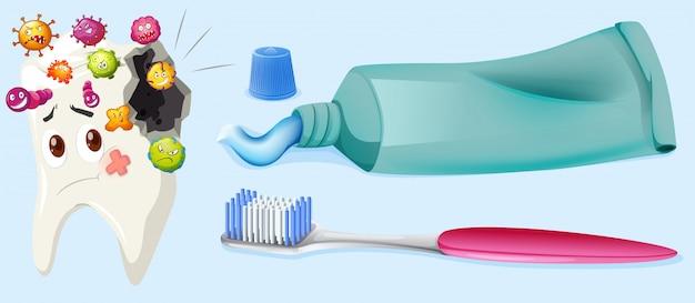 Zahnmedizinisches thema mit karies und ausrüstung