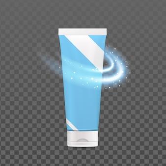 Zahnpasta blank tube paket und sparkle vector. aromatische erfrischungs-zahnpasta-verpackung zum bürsten und pflegen von mundzähnen. gesundheitswesen verfahren vorlage realistische 3d-darstellung