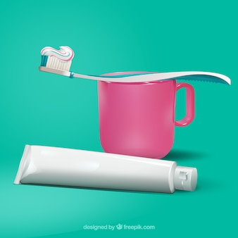 Zahnpasta und zahnbürste mit becher im realistischen stil