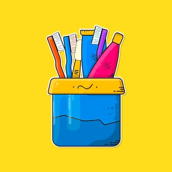 Zahnpastaverpackung mit cup-vektor-illustration