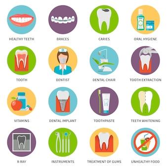 Zahnpflege icons set