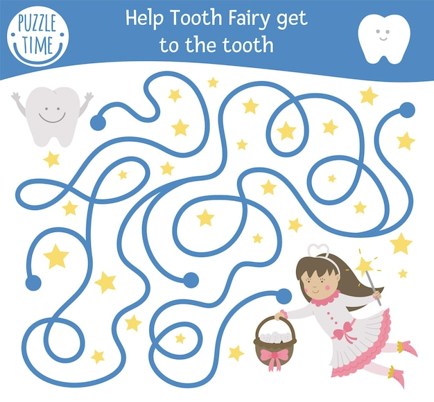 Zahnpflege-labyrinth für kinder. tätigkeit der zahnarztpraxis im vorschulalter. lustiges puzzlespiel mit süßem fantasy-mädchen und zähnen. hilf der zahnfee, an den zahn zu kommen. mundhygienelabyrinth für kinder