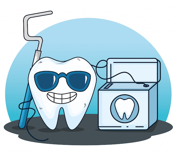 Zahnpflege mit baggerwerkzeug und zahnseide