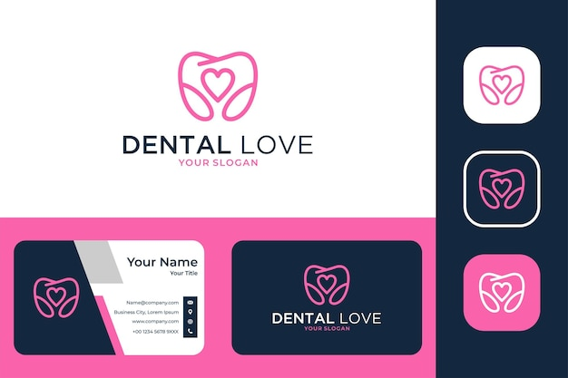 Zahnpflege mit love line art logo-design und visitenkarte