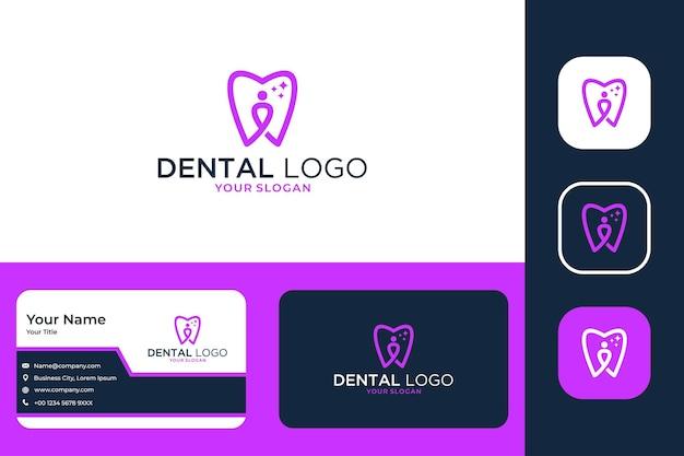 Zahnpflege mit menschenlogo-design und visitenkarte