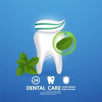Zahnpflege mit pfefferminzblatt