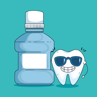 Zahnpflege mit sonnenbrille und medizinischem zahnwasser
