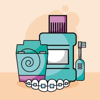 Zahnpflege zahnseide mundwasser elektrische bürste kieferorthopädie