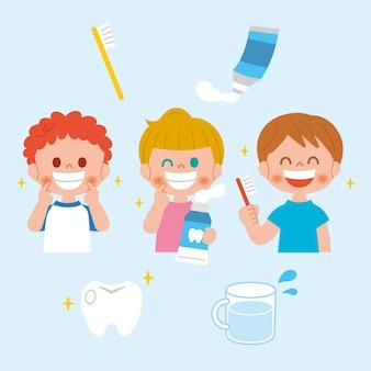 Zahnpflegekonzept im flachen design