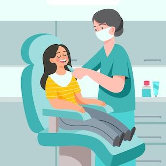 Zahnpflegekonzept mit zahnarzt und patient