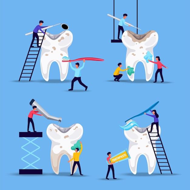 Zahnprobleme präventionsbehandlung 4 flache lustige kompositionen mit kleinen menschen, die riesige zähne auf blauem hintergrund putzen