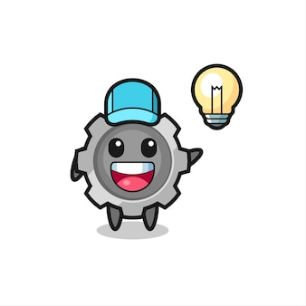 Zahnrad-charakter-cartoon, der die idee bekommt, niedliches design für t-shirt, aufkleber, logo-element