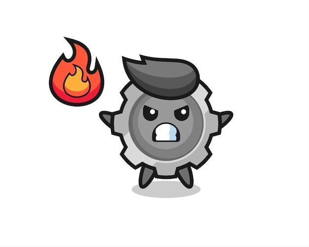Zahnrad-charakter-cartoon mit wütender geste, süßes design für t-shirt, aufkleber, logo-element