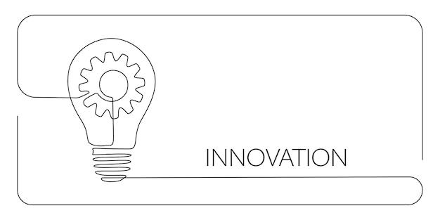 Zahnrad im inneren glühbirne in durchgehender strichzeichnung bedeutet kreatives innovationskonzept. wird für logo, emblem, webbanner, präsentation, karte und zielseite verwendet. bearbeitbarer strich. vektor-illustration