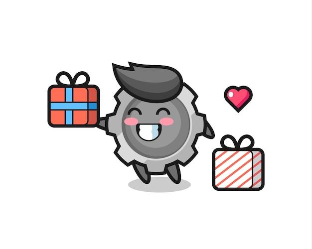 Zahnrad-maskottchen-cartoon, der das geschenk gibt, niedliches design für t-shirt, aufkleber, logo-element