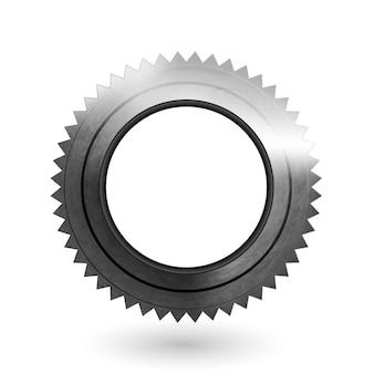 Zahnrad realistisches metall strukturiertes symbol zahnrad isolierter teil des technischen elements des mechanismus mechanism