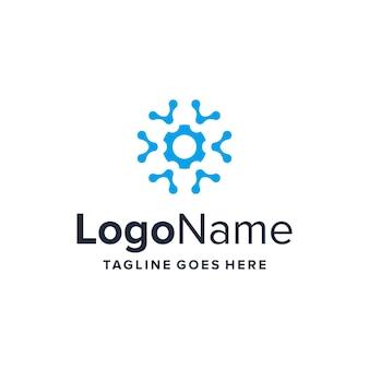Zahnrad- und technologiesymbole einfaches schlankes kreatives geometrisches modernes logo-design