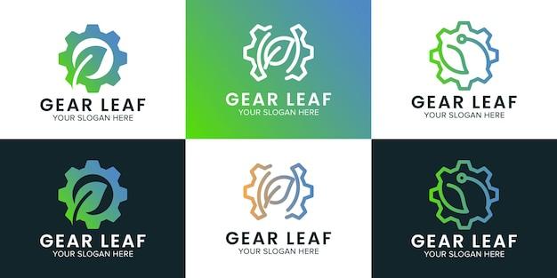 Zahnradblatt-logo-set verwendet linienkonzept