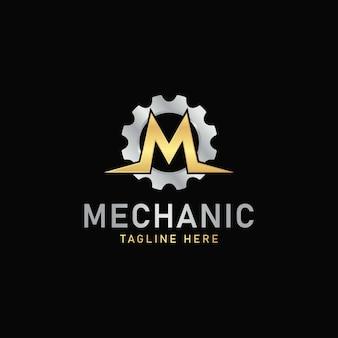 Zahnradmechaniker-logo-symbol-vektor-buchstabe m-logo