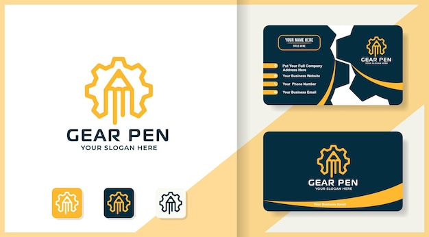 Zahnradstift-umriss-logo-design und visitenkarte