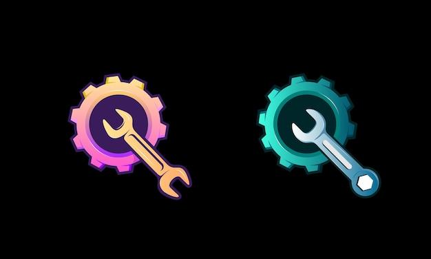 Zahnradsymbol und servicewerkzeugschlüssel