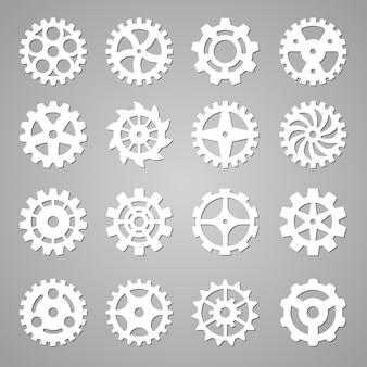 Zahnradsymbole. zahnradkreismechanismus radsymbole zukünftige abstrakte technologiekonzept vektorelemente sammlung