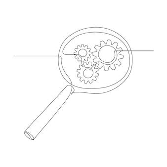 Zahnräder im inneren lupe in durchgehender strichzeichnung. konzept der geschäftsanalyse und motoroptimierung im umrissstil. wird für logo, emblem, webbanner, präsentation verwendet. vektorillustration