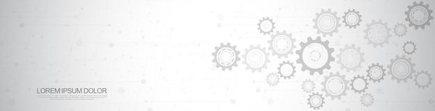 Zahnräder und zahnradmechanismen. hightech-digitaltechnologie und -technik. abstrakter technischer hintergrund.