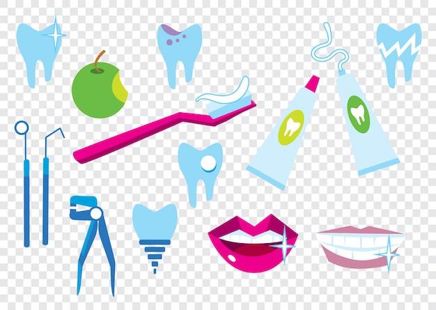 Zahnreinigung elemente festgelegt