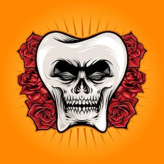 Zahnschädel mit rosenillustrationen