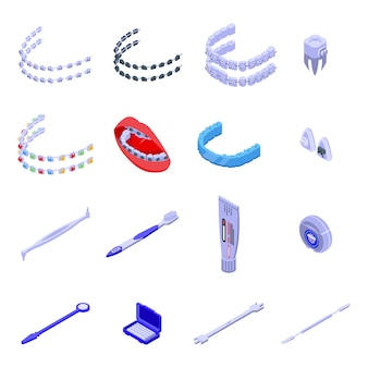 Zahnspangen-symbole eingestellt. isometrischer satz von zahnspangensymbolen für web lokalisiert auf weißem hintergrund