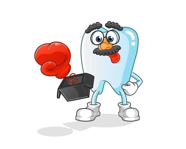 Zahnstreich mit handschuh in der boxkarikaturillustration