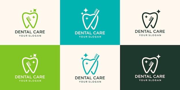 Zahnvektorlogoschablone für zahnmedizin oder zahnklinik und gesundheitsprodukte.