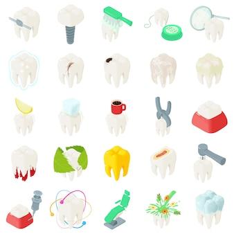 Zahnzahn-zahnarztikonen eingestellt. isometrische illustration von 25 zahnzahnzahnarzt-vektorikonen für netz