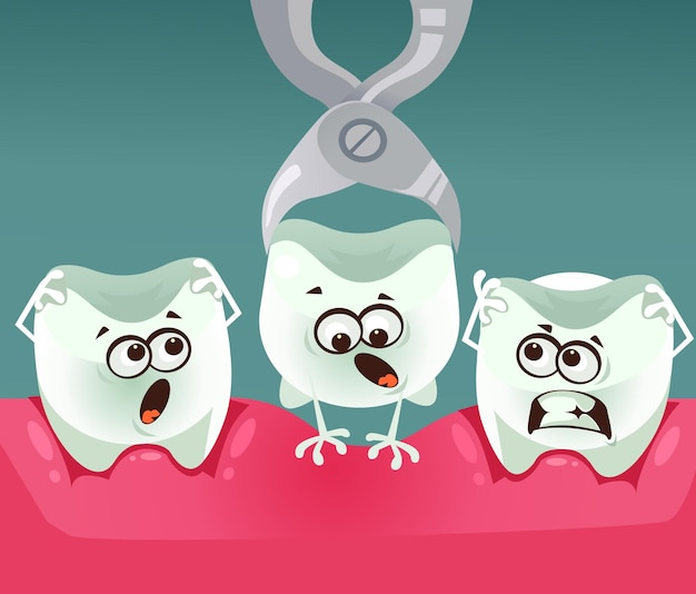 Zahnzeichenentfernung flache karikaturillustration der stomatologie-zahnheilkunde