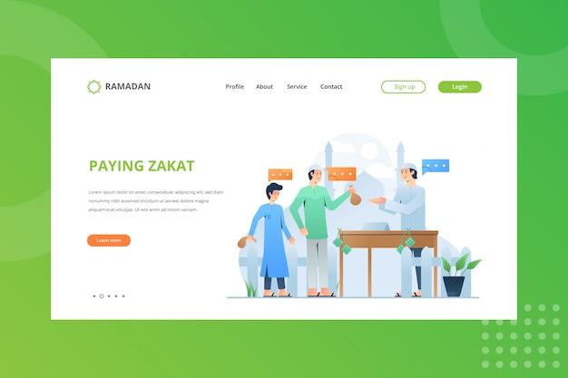 Zakat-spendenillustration für ramadan-konzept auf landing page bezahlen