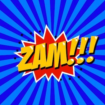 Zam! comic-stilphrase auf sunburst-hintergrund. element für plakat, t-shirt.