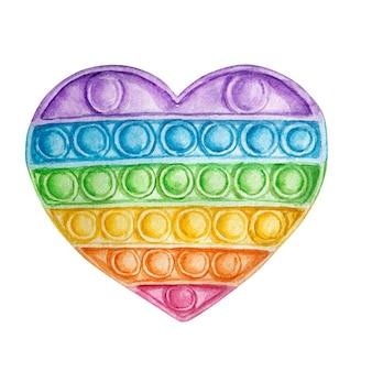 Zappeln sie regenbogenherz auf weißem hintergrund. aquarell pop it. regenbogenfarben anti-stress-spielzeug. farbiger spritzer.