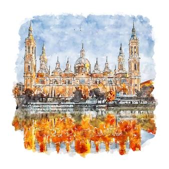 Zaragoza spanien aquarell skizze hand gezeichnet