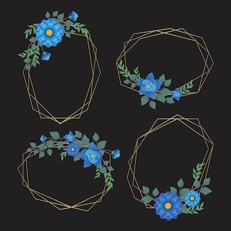 Zarte blaue blüten mit blättern auf goldenen rahmen