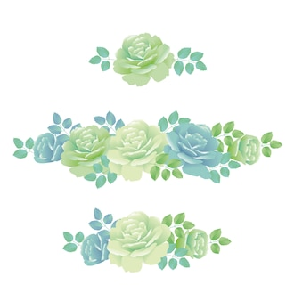 Zarte frühlingsrosenillustration. abstraktes hellblaues und grünes farbblumenmusterelement.