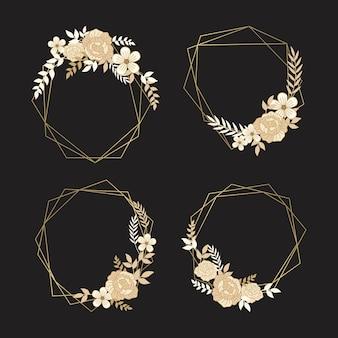 Zarte goldene blüten mit blättern auf polygonalen rahmen