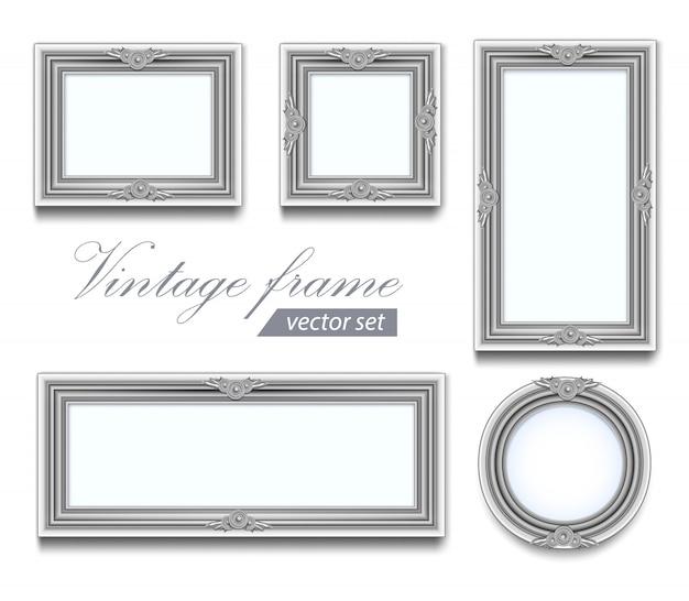 Zarte hellgraue runde quadratische holz und rechteckige fotorahmen. set vintage rahmen