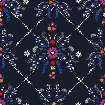 Zarte kleine blume mit herzform aus blumen, fantasy nahtloses mustervektordesign, design für mode, stoff, textilien, tapeten, cover, web, verpackung und alle drucke auf dunkelblau dark