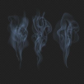 Zarte realistische transparente wirkung von rauch, nebel oder nebelwellen.