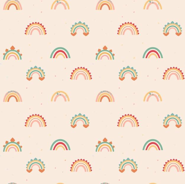 Zarte regenbögen im boho-stil mit dino-dekorelementen